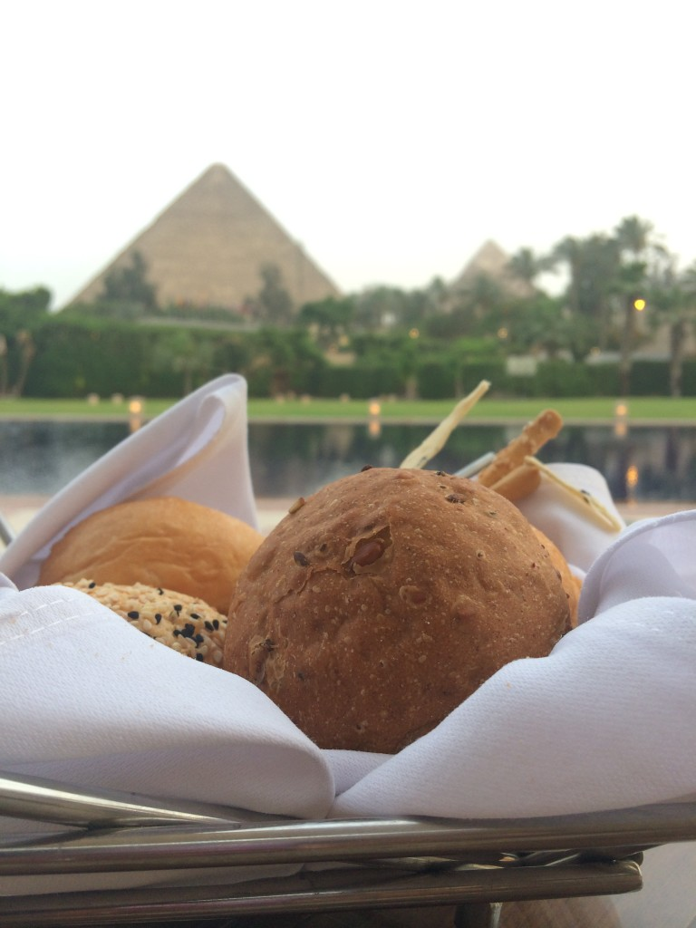 Eating in front of the Pyramids