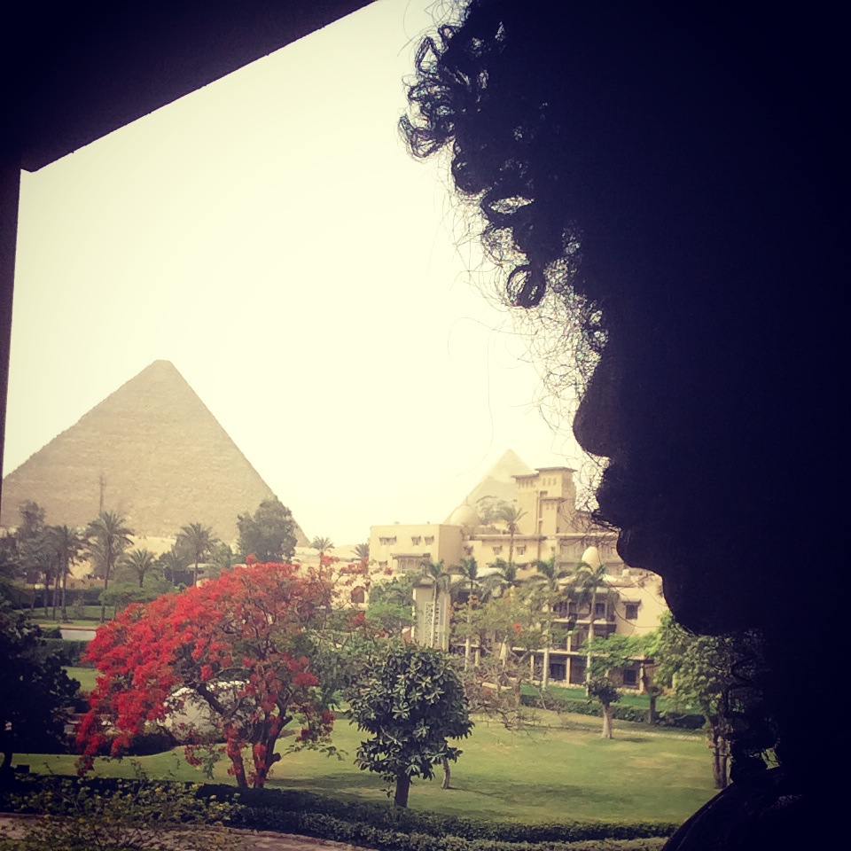 Looking at Pyramids from balcony